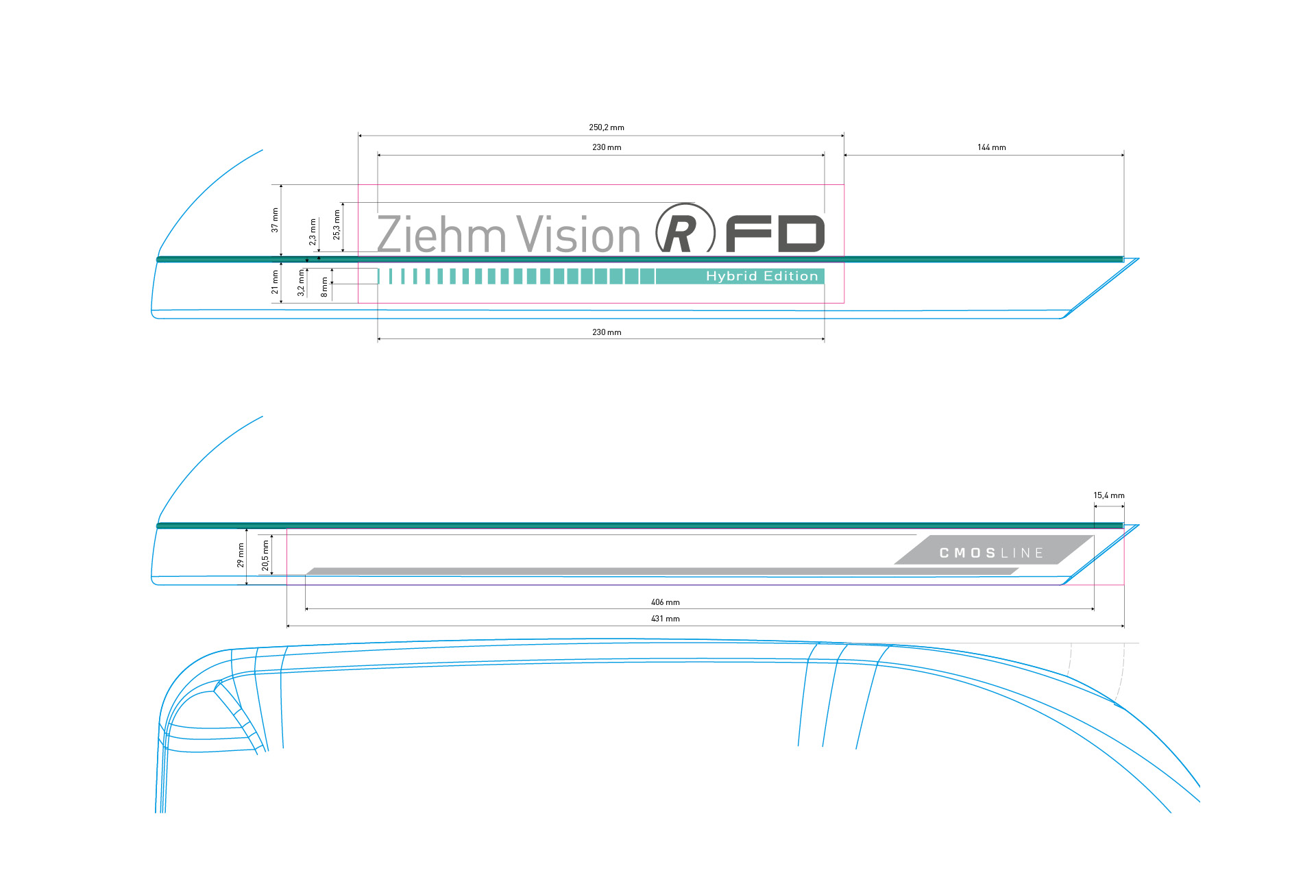 Konstruktionszeichnung zu Größe und Position der Produktkennzeichnung