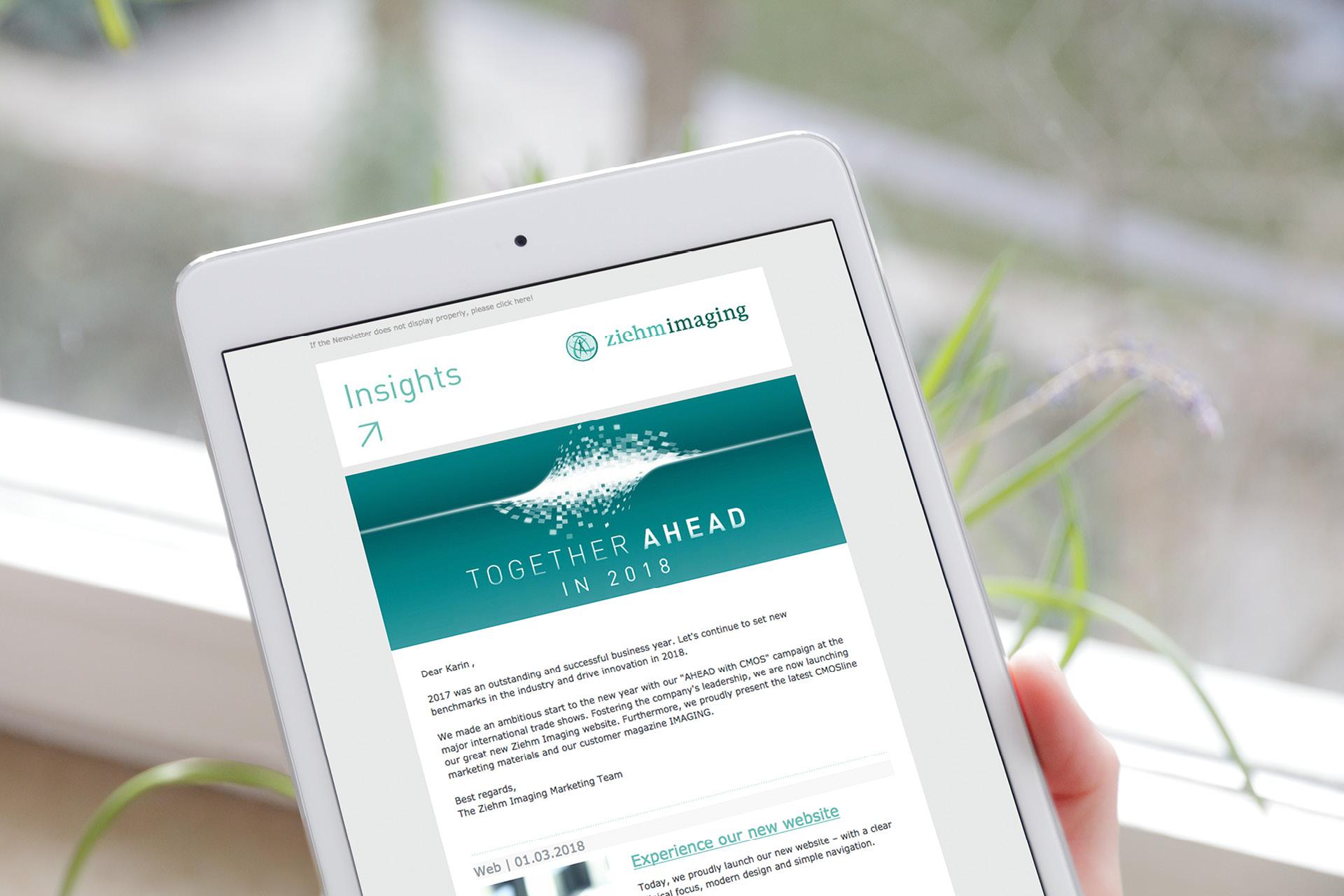 Newsletter von Ziehm Imaging, dargestellt auf iPad