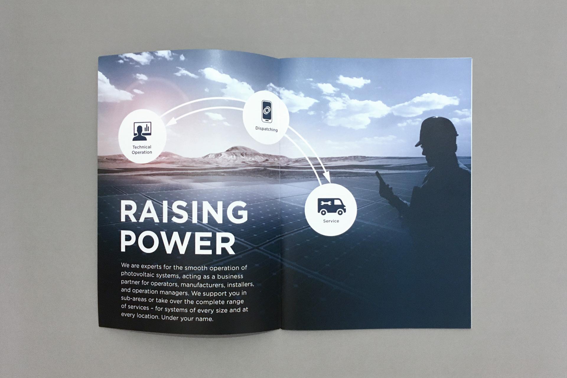 Raising Power Broschüre, aufgeschlagen