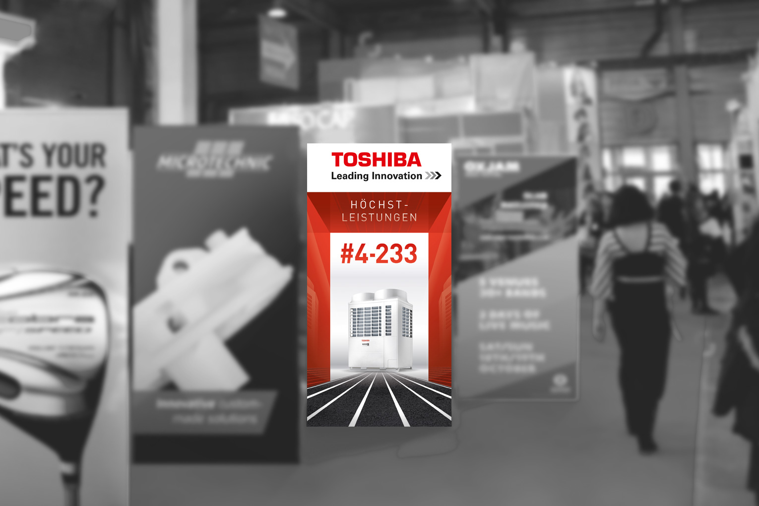 Toshiba Rollup in Messehalle