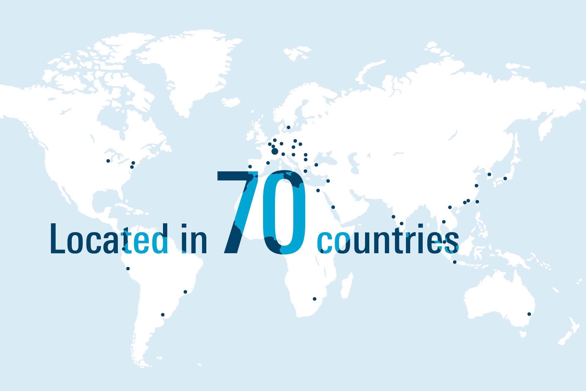 WAB Messestand Weltkarte mit Niederlassungen